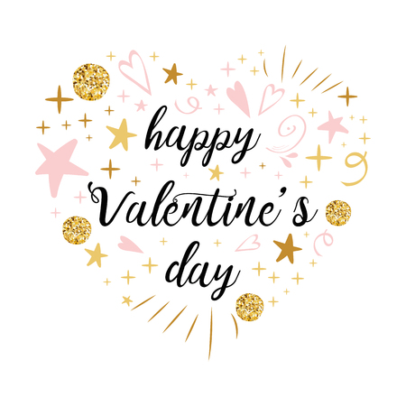 Cute romantic text Happy Valentines Day calligraphy into heart shape made gold pink yellow golden glitter colors. Vector hand drawn vintage lettering element for 14 February design. Vove sign.