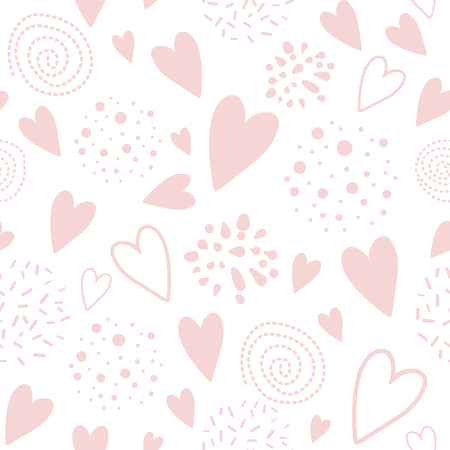 Cute seamless pink pattern with heart shapes ornament decorated hand drawn circles, round shapes Vector illustration for wallpaper, wrap Wedding background Valentines day template Girl pyjama print. Ilustrace