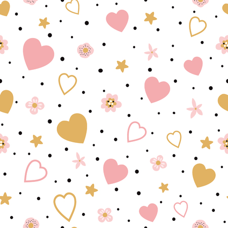 Romantic pink gold floral seamless pattern with hearts for St Valentines day, wedding kids baby fabric textile pajamas Hand drawn flower love Vector illustration Wallpaper little baby girl design.