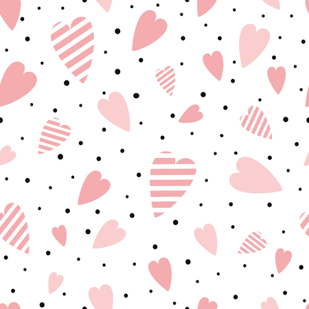 St Valentines seamless pink pattern with heart shapes ornament decorated black polka dot ornament Vector illustration for wallpaper, wrap Wedding background Valentines day template Girly pyjama print. Ilustrace