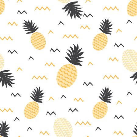 Summer fruits backround Vector summer seamless pineapple pattern Ananas print Textile fabric ananas yellow and grey colors Tropical pineapple pattern on white Vector illustration Yellow summer design. Stock Vector - 126253965