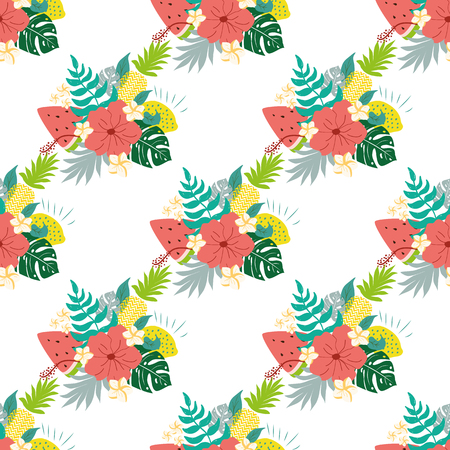 Fashion tropics funny wallpapers. Tropical seamless pattern with pineapples watermelon tropical leaves flowers on bright colors. Summer hibiscus seamless patterns wrap background Vector illustration.
