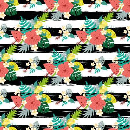 Summer hibiscus seamless patterns on striped black lines tropical flowers exotic fruits background