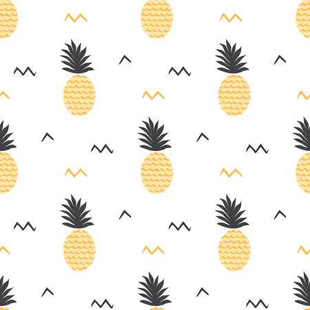 Summer fruits backround Vector summer seamless pineapple pattern Ananas print Textile fabric ananas yellow and grey colors Tropical pineapple pattern on white Vector illustration Yellow summer design.