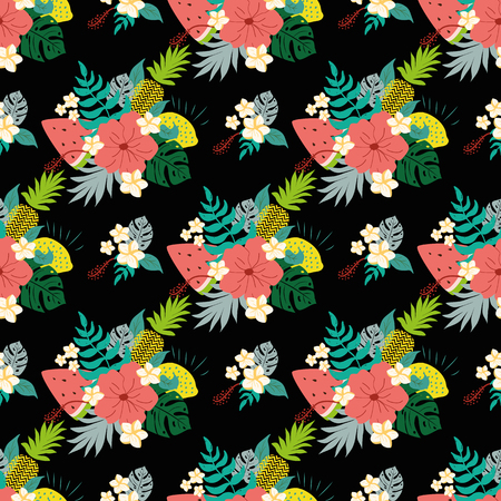 Seamless floral pattern with tropical flowers on black. Vector illustration Summer hibiscus seamless patterns with exotic fresh natural fruits. Cute summer hibiscus wallpaper Bright background.