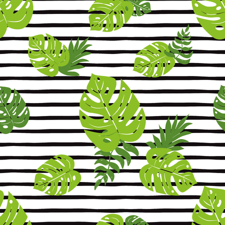 Print summer exotic jungle plant tropical palm leaves. Pattern, seamless floral vector on the black white geometric background. Nature wallpaper. Vector illustration. Summer beach seamless pattern.