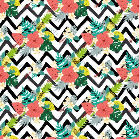 Seamless floral pattern with tropical flowers on black zigzag lines background Vector illustration Summer hibiscus seamless patterns with exotic fresh natural fruits. Cute summer hibiscus wallpaper.