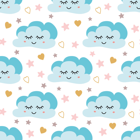 Cute sky pattern. Seamless vector design with smiling, sleeping moon hearts stars clouds Baby illustration Sky print pattern for kids Childish wallpaper. Night pyjamas template. Fabric cloth design. Ilustrace