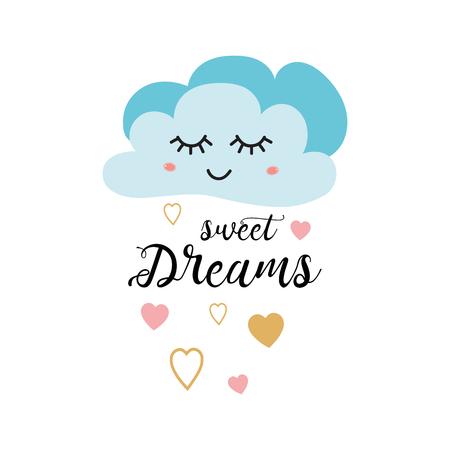 Poster voor babykamer met tekst Sweet dreams versierd schattig handgetekende lichtblauwe cartoon wolk roze gouden hart. Positieve zin voor baby shower ontwerp kaarten banner doek kinderachtig vectorillustratie.