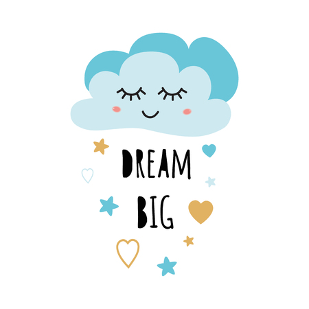 Poster for baby room with text Dream big for boy decorated cute hand drawn light blue cartoon cloud stars heart. Positive phrase for baby shower design cards banner cloth Childish vector illustration.