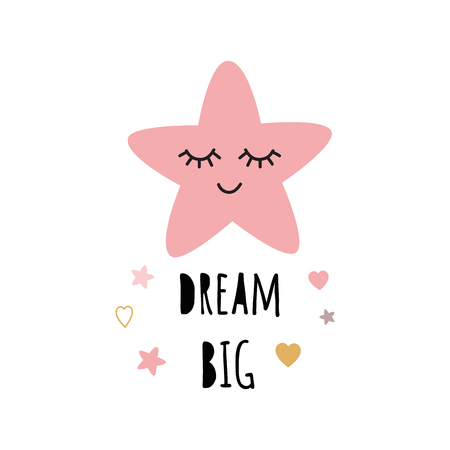 Poster for baby room with text Dream big for girl decorated cute hand drawn light pink cartoon sleeping star. Positive phrase for baby shower design card banner cloth Childish vector illustration.