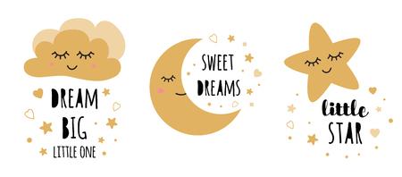 Kids posters set Cute childish typography print cloud moon star nursery apparel baby shower invitation Text dream Big Black gold colors Vector Illustration Postcard baby room wall art Kids room decor.