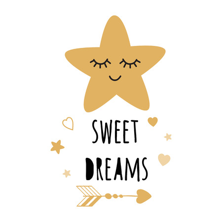 Poster for baby room with text Sweet Dreams for decorated cute hand drawn gold cartoon sleeping star. Positive phrase for baby shower design card banner cloth Childish golden vector illustration. 向量圖像