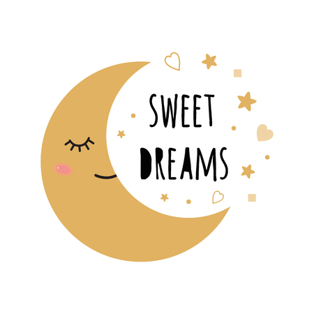 Poster for baby room with text Sweet Dreams for decorated cute hand drawn gold cartoon sleeping smoon stars. Positive phrase for baby shower design card banner cloth Childish golden vector illustration.