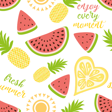Seamless pattern with yellow pineapples juicy watermelons on white background. Cute vector background Bright summer fruit illustration Summer phrases Fruit mix design for fabric print wallpaper decor. Illustration