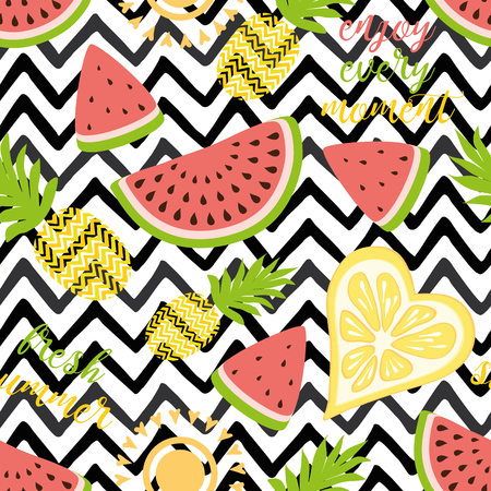 Seamless pattern with yellow pineapples juicy watermelons on black zigzag background Cute vector background Bright summer fruit illustration Summer fruit mix design for fabric print wallpaper decor.