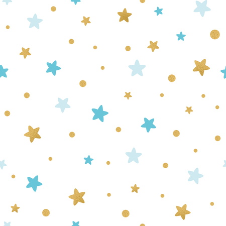 Blue gold star baby seamless pattern Holiday Baby shower background Light seamless pattern decorated golden blue stars on white Vector illustration for xmas wallpaper wrap fabric textile cloth design.