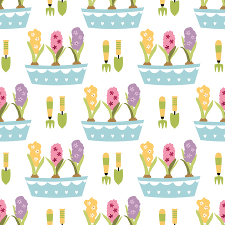 Hand drawn cute spring seamless pattern. Illustration with garden tools pots leaves hyacinths flowers Gardening banner Nature design for textile prints. Color vector background, spring theme.