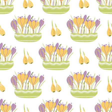 Spring planting flowers Hand drawn cute spring seamless pattern. Illustration with gardening concept - crocuses bulbs garden flowers in pots leaves Planting banner Nature design Vector background.