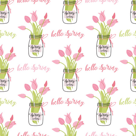 Spring tulips flowers in glass jug Hand drawn cute spring seamless pattern Pink green text Hello Spring Illustration with gardening concept Planting banner Nature design Vector floral background.
