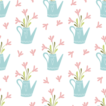 Spring pink flowers bouquet in light blue jug Hand drawn cute floral garden seamless pattern. Illustration with gardening concept botany banner Nature design Vector fabric printable background.