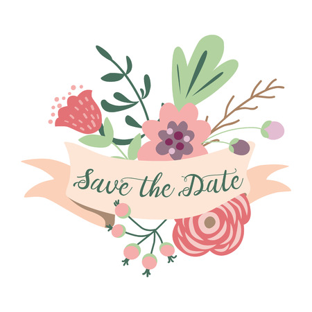 Save the date romantic inscription on pastel ribbons decorated cute hand drawn flowers Graphic print retro style Wedding invitation Valentines day cogratulation Love card banner Vector illustration.