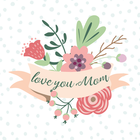 Love you mom romantic text on pastel ribbons decorated cute hand drawn flowers Graphic print retro style for Happy Mothers day birthday anniversary invitation cogratulation banner Vector illustration. Ilustrace