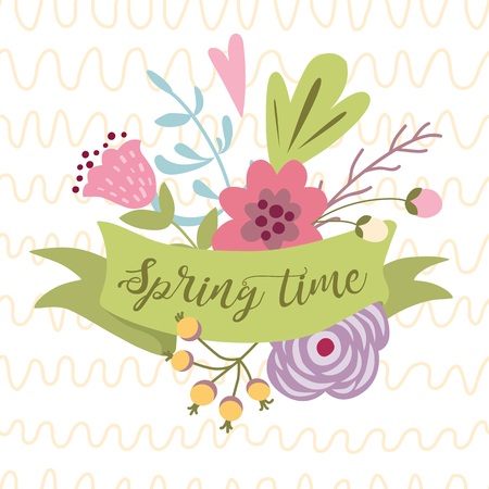 Spring time romantic text on green ribbon decorated cute hand drawn flowers Graphic print retro style for Happy Spring season invitation print poster banner Typography lettering Vector illustration.