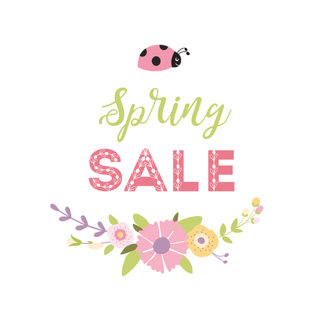 Spring Sale Banner with green leaf hand drawn pink flowers ladybug. Vector Design for your greetings card, flyers, web banner invitation, posters brochure banners calendar spring sale Floral wreath.