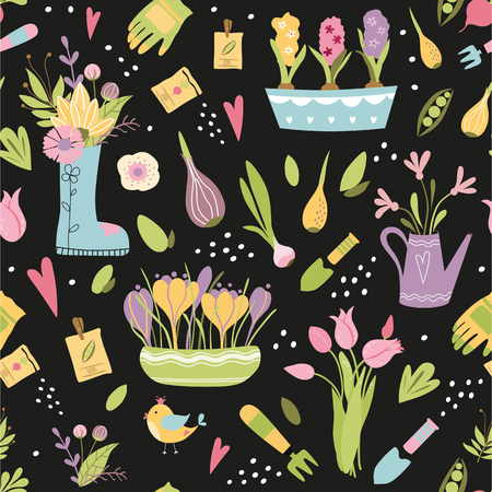 Seamless hand drawn pattern with garden tools. Colorful endless texture with flowers plants in pot tulips bulbs seeds Spring gardening template for design textile backgrounds wrapping paper Vector.