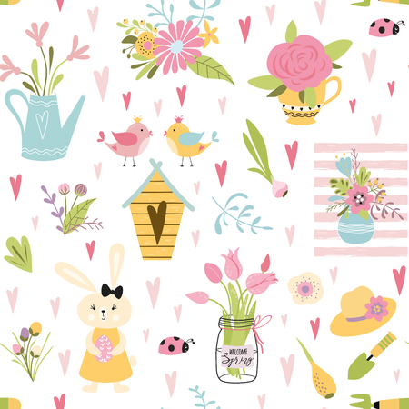 Cute seamless pattern with birds family rabbits nesting box spring tulips nature flowers bouquet plant in pot Stylish floral background Childish vintage design wallpaper Vector illustration. Ilustrace