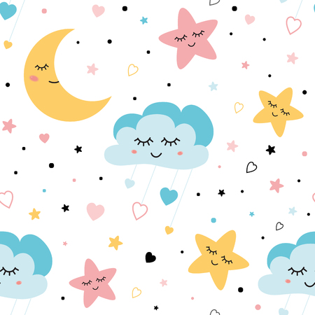 Seamless childish pattern Cute baby stars and clouds moon Creative night style kids pink blue texture for fabric wrapping textile wallpaper apparel background Children pyjamas Vector illustration.