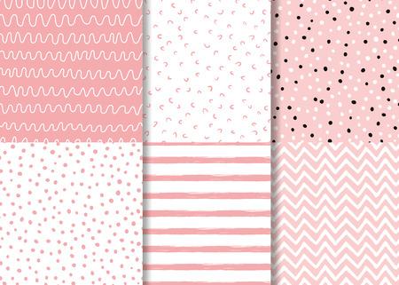 Ensemble de motifs simples roses sans couture Conception enfantine Papier peint pour petite fille Collection de fond rose en pointillé Illustration vectorielle Conception de pyjama naïf textile en tissu d'enveloppement dessiné à la main. Vecteurs