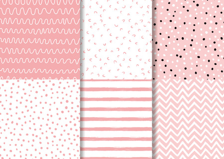 Set of simple pink seamless patterns Childish design Wallpaper for little baby girl Pink dotted background collection Vector illustration Hand drawn wrap fabric cloth textile naive pyjamas design.
