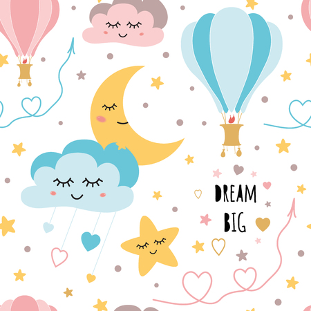 Lovely childish background made of cartoon signs: hearts, stars, clouds moon air balloon in the sky. Sweet dream card in vector. Awesome seamless pattern in cartoon style Baby stars and clouds design. Ilustrace