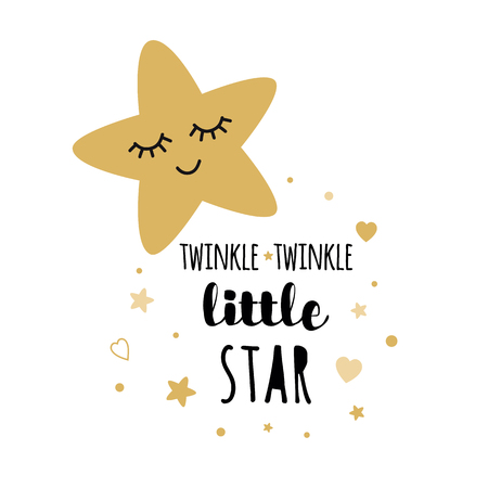 Twinkle twinkle little star text with cute golden stars for girl baby shower card template. Vector illustration. Banner for children birthday design, logo, label, sign, print. Inspirational quote Illustration