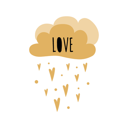 Text Love into cloud shape Golden hearts rainn Kids poster Cute childish typography print Bbaby shower invitation gold colors Vector Illustration Postcard baby room wall art Kids room decor. Illustration