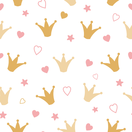 Repeated crowns and hearts drawn by hand gold pattern Romantic girl vector seamless background Illustration