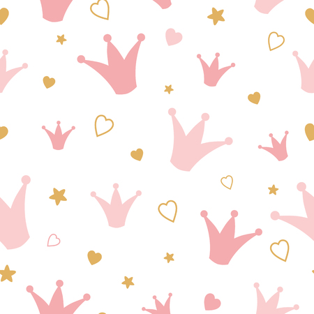 Repeated crowns and hearts drawn by hand pink pattern Romantic girl vector seamless background