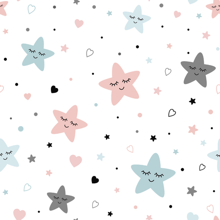 Seamless cute children pattern Cute baby stars heart background Creative night style kid light pink blue grey color texture for fabric wrapping textile background Children pyjamas Vector illustration. Иллюстрация