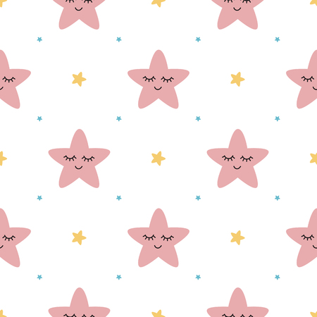 Vector seamless pattern sleeping pink stars on white backgound Cute children baby shower fabric design