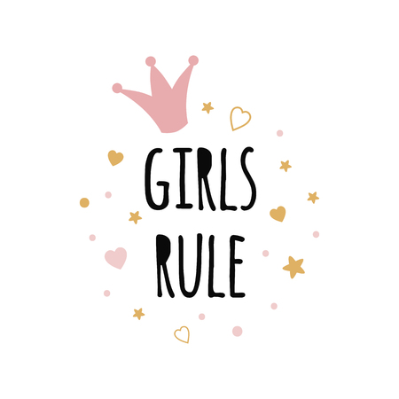 Girls Rule text hand drawn nursery poster pink crown gold stars. Vector illustration.