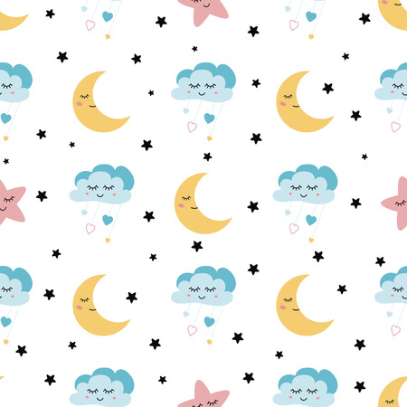 Seamless cute childish pattern with baby stars cloud moon Kids texture background Vector illustration