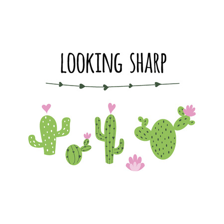 Text looking sharp vector card. Cute hand drawn Prickly cactus print with inspirational quote