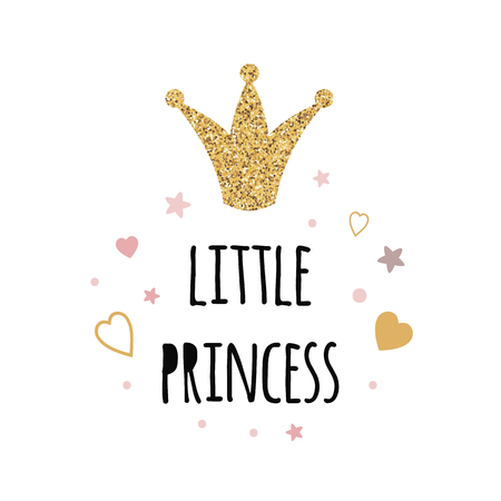 Text Little Princess with gold glottering crown pink stars heart decor Vector print Vector Illustration