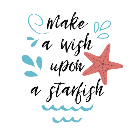 Hand drawn lettering quote Sea star beach summer Vector banner