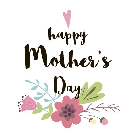 Happy Mothers day greeting banner invitation Floral hand drawn print flowers vector illustration Çizim