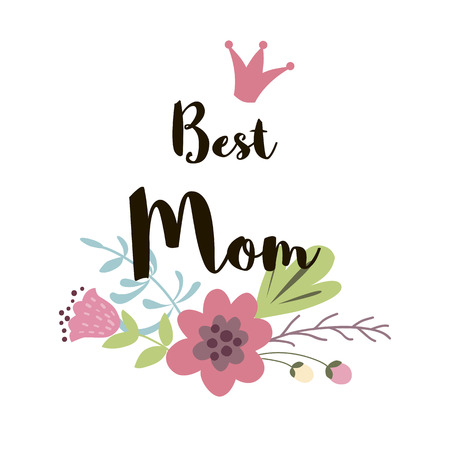 Happy Mothers day greeting banner Text Best Mom Floral hand drawn print flowers vector illustration Çizim