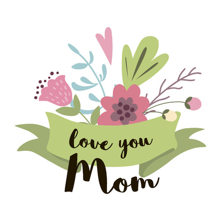 Cute Greeting Design ElementsFor Mothers Day With Flowers ribbon vector Love you mom