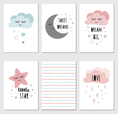 Vector sleepy moon star cloud cards kids designs Childish style pink color Phrases